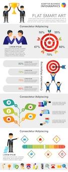 カラフルな統計または管理概念のインフォグラフィックチャートセット