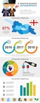 グルジアの文化と分析の概念のインフォグラフィックチャートセット