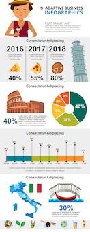イタリアの文化とマーケティングのインフォグラフィックチャートセット
