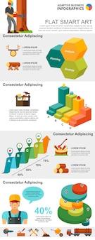 ロギング業界および管理コンセプトのインフォグラフィックチャートセット