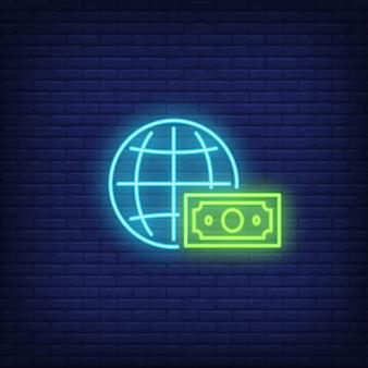 Значок глобуса и доллара неоновый знак