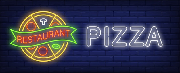 Пицца ресторан неоновый знак