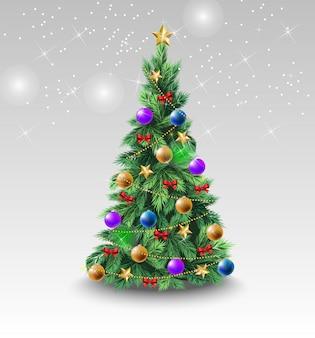 カラフルなボールを持つ美しいクリスマスツリー