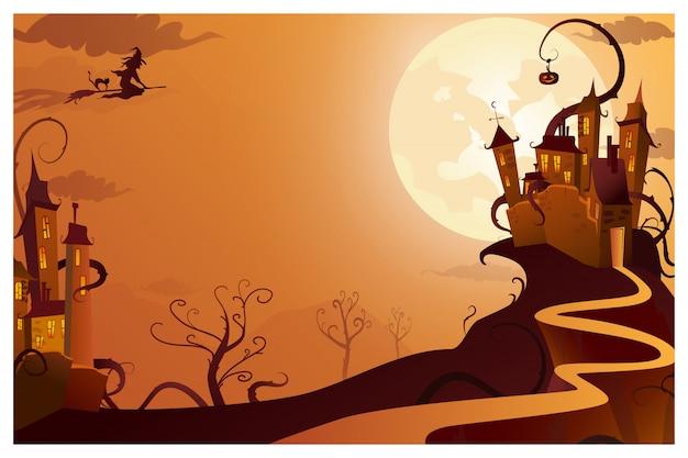 神秘的な家のイラストを飛んでいる魔女