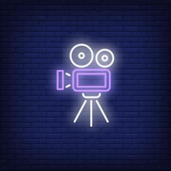 Значок видеокамеры неоновый