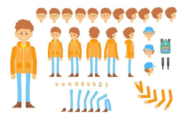 Анимированный характер подростка в современном обмундировании