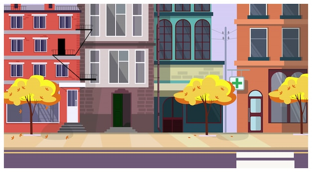 Осенняя улица города с деревьями и зданиями в фоновом режиме