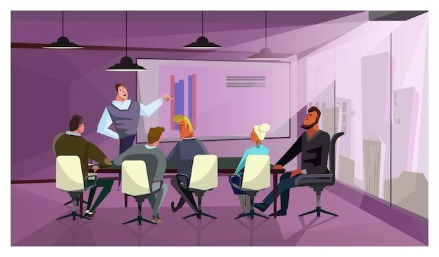 企業財務を説明するビジネスマンのイラスト