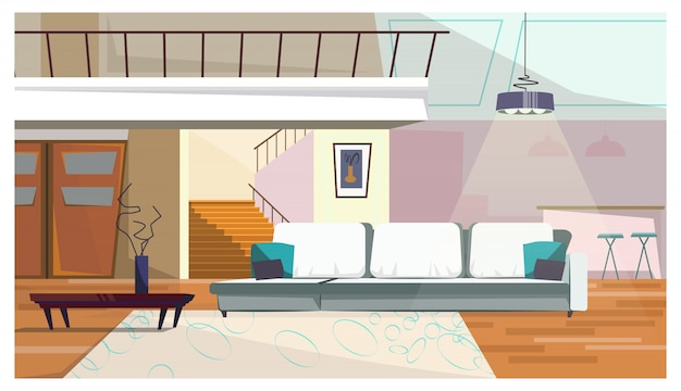 家具イラスト付きの快適なリビングルーム