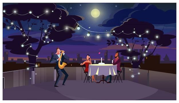 ロマンチックな夕食の屋外のイラストでカップル