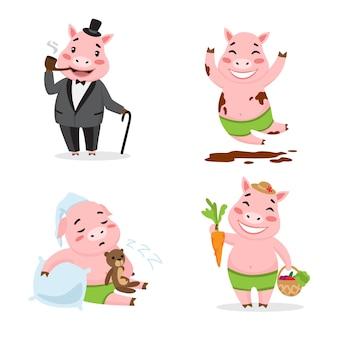 かわいい豚が別の行動を楽しんでいる。漫画キャラクターセット。喫煙パイプ、泥の中を転がる、眠る、