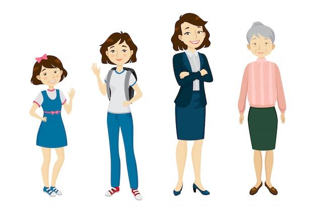 さまざまな年齢のキャラクターセットの女性