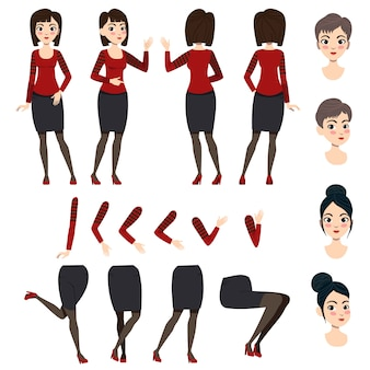 アジア人女性のフラットアイコンセット