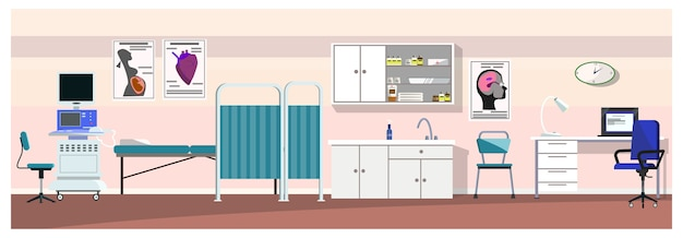 超音波スキャナのイラスト付き病院の部屋