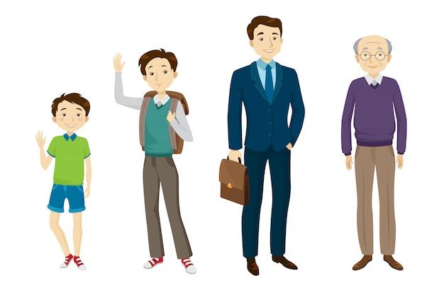 さまざまな年齢のキャラクターセットの男性