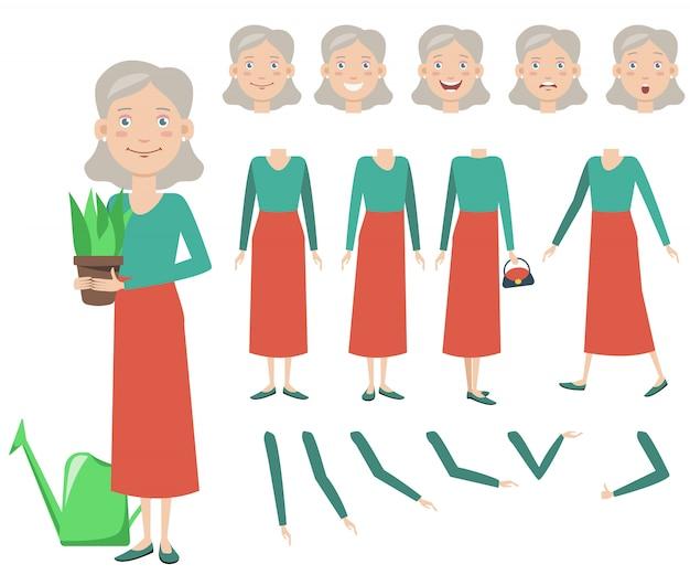 鉢植えのキャラクターセットを持つおばあちゃん