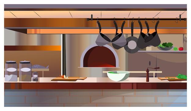 オーブンとカウンターのイラスト付きレストランキッチン