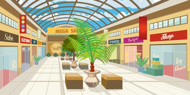 パノラマ屋根のショッピングモール廊下