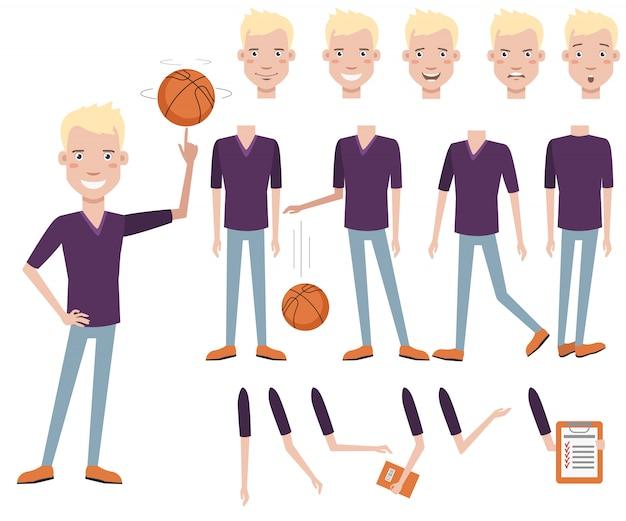 成功したハンサムな高校バスケットボール選手のキャラクターセット