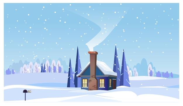 小さな家と喫煙煙突のある冬の風景