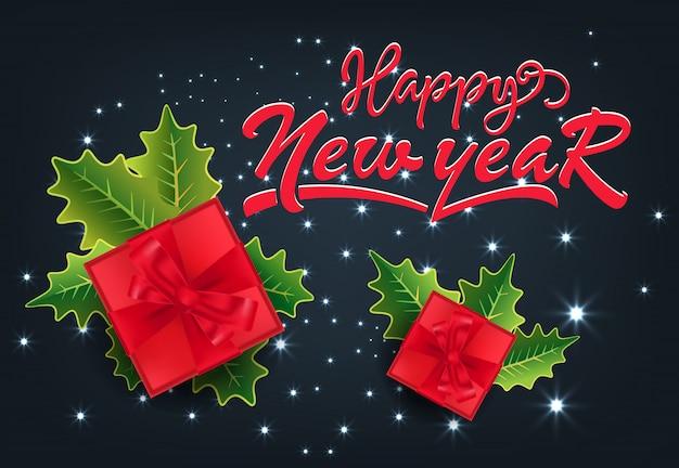 С новым годом праздничный дизайн карты. подарки и омела