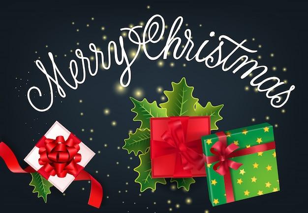 Счастливого рождества праздничный дизайн карты. подарки и омела