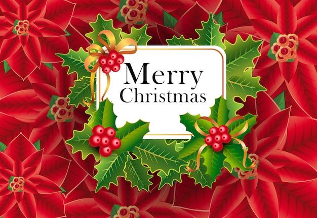 Веселая рождественская открытка дизайн. рождественские ягоды