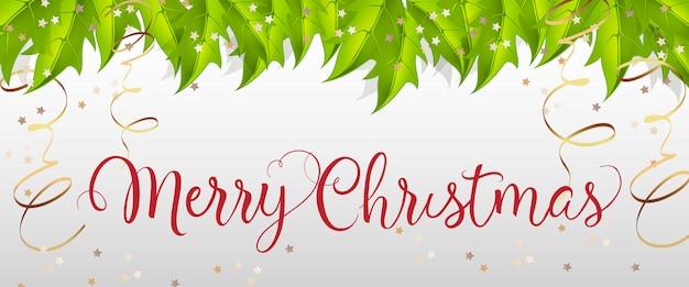 ヤドリギ葉のメリークリスマスレタリング