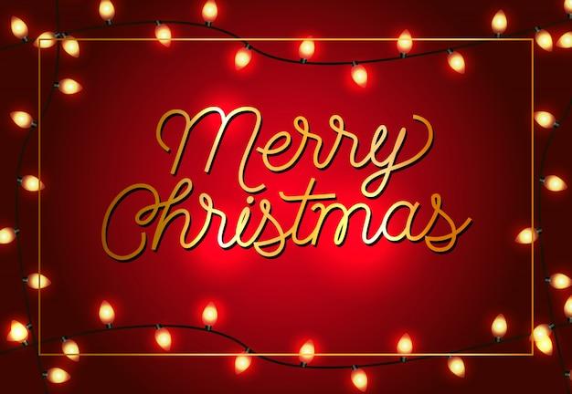 Счастливого рождества дизайн плаката. рождественские гирлянды