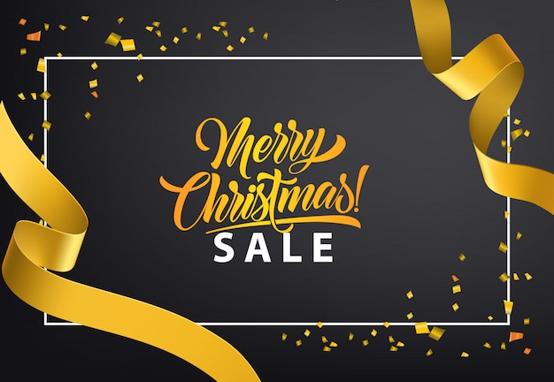 メリークリスマスセールポスターデザイン。金色の紙袋