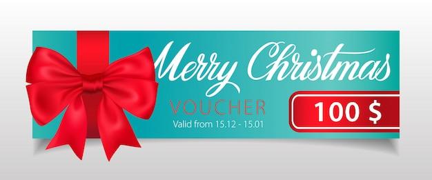 Счастливого рождества, ваучерная надпись с большим бантом из ленты