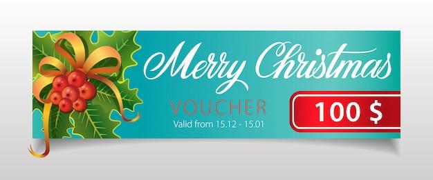 Счастливого рождества, ваучерная надпись с омелой