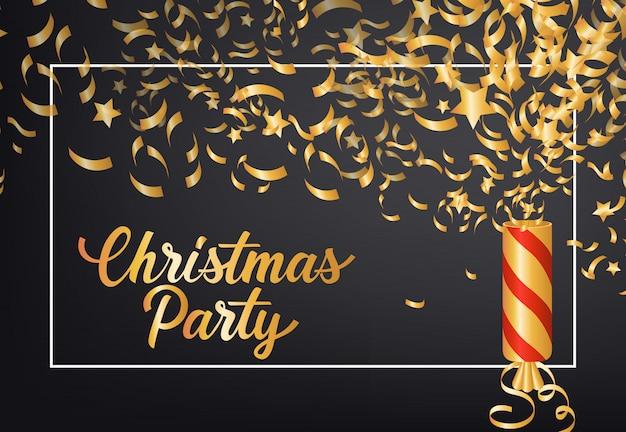 クリスマスパーティーのポスターのポスターデザイン。クラッカー、紙吹雪