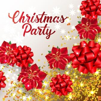 Рождественская вечеринка надписи с лентами бантами и конфетти