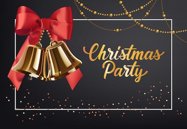 Рождественская вечеринка дизайн плаката. золотые джинглы с красным бантом