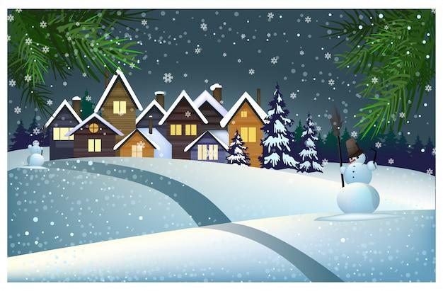 町のイラストの屋根の上に雪の多い多くの家