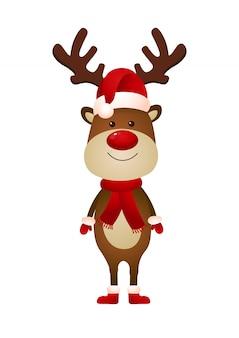 サンタの帽子とスカーフのイラストを着て笑顔のトナカイ