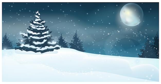 満月とモミの木のイラストと冬の風景
