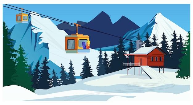 ロープウェイ駅とスキーケーブルカーを備えた冬の風景
