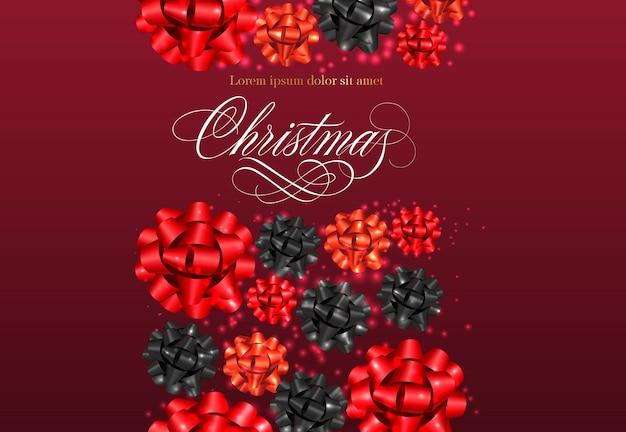 リボン弓パターンとクリスマスのレタリング