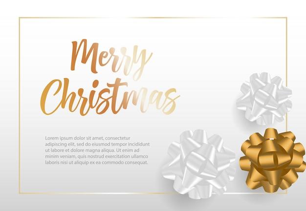 リボンの弓とフレームのメリークリスマスレタリング