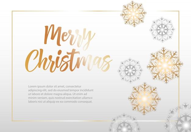 雪の結晶のフレームでメリークリスマスの文字
