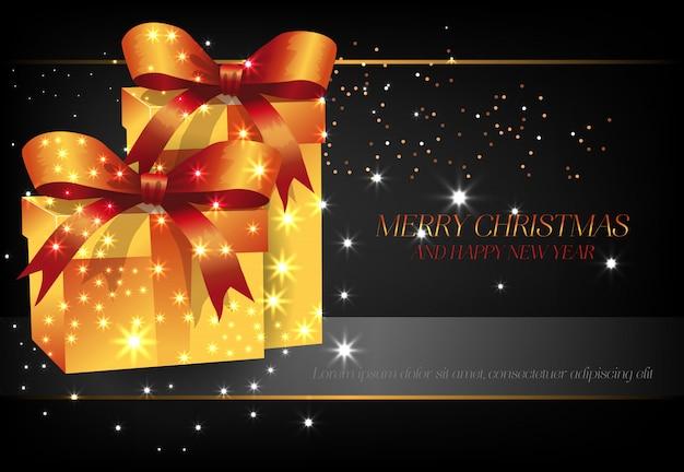 黄色のギフトボックスポスターデザインとメリークリスマス