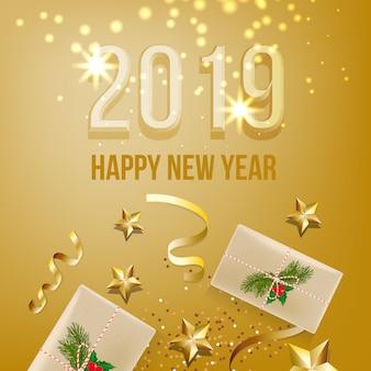 Двадцать девятнадцать новый год дизайн карты