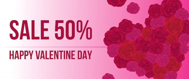 販売、バラの心と幸せなバレンタインデーのレタリング