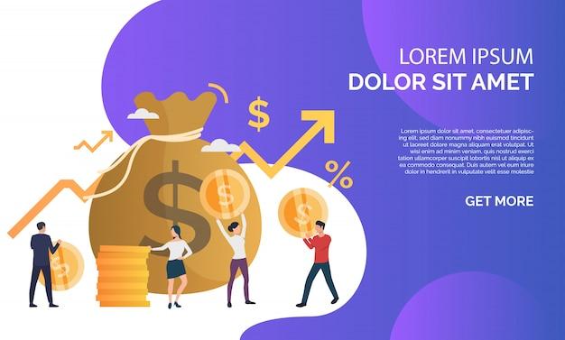 増資の紫色のプレゼンテーションイラスト