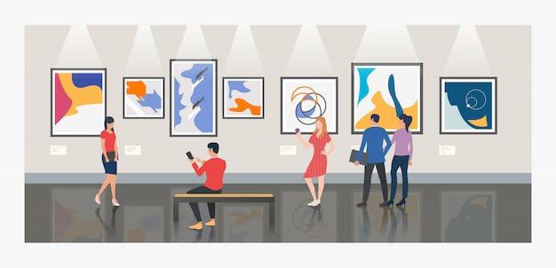 Мужчины и женщины посещают музей или художественную галерею иллюстрации