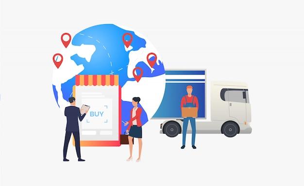 Земной шар с указателями, грузовик и розничной торговли
