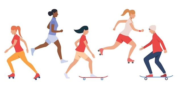 十代の若者たちのスケートボードとローラーブレードのセット