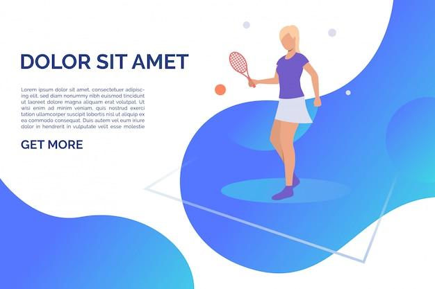 サンプルテキスト付きのテニスをする女性